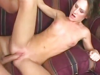 Skinny brunette hair with small breast and bald putz gets hammered