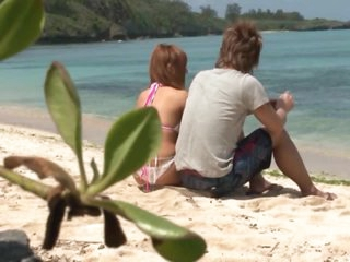 Horny Kokomi Naruse Gets Her Hairy Love tunnel Fucked With Sex Toys on the Beach