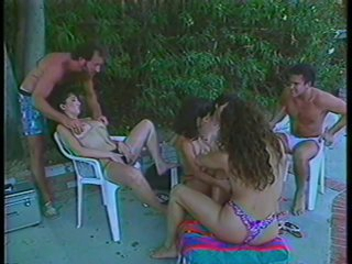 3 Hairy Babes Fucking and Swallowing Sexy Cum By The Poolside