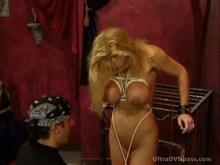 Captive Blonde Babe Gets Tied Up and Whipped By BDSM Slaver