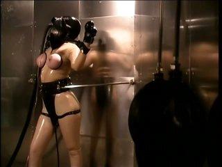 Tied Submissive Lesbo Slut Paige Richards Wears a Gas Mask