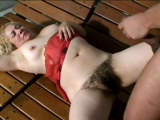 Busty Blonde Older With a Thick Bush Sucks Cock and Then Gets Banged