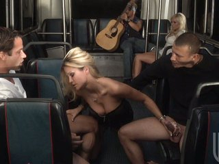 Angelina and Jessica are so horny they prepare an whole bus to fuck