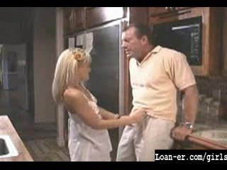 Hot Blondle Legal age teenager gives great tugjob in kitchen