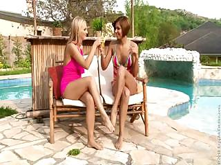 Hot Lesbian babes Licking Their Pussies On Poolside