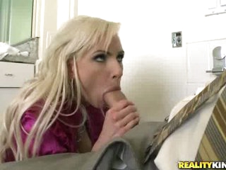 Blond milf Alexa B opening up her sexy mouth and filling it with knob