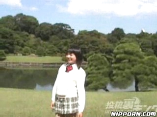 Japanese girl flashing and having a pee