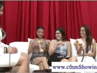 Cfnm girls testing out strokers on guys
