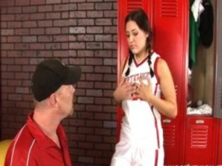 Horny legal age teenager fucked in the locker room by her PE teacher