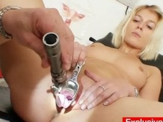 Deviated gyno doctor checks golden-haired babe