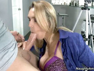 Tanya Tate sucks off a fortunate juvenile man's nob like cum coated lollipop