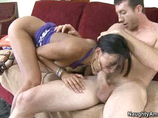 Cock engulfing slut Layla Storm gets sexy and wild munching a lucky man's sausage