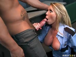 Big titted slutty officer Brynn Tyler is one on one with super star Nacho Vidal in interrogation room. Her big tits and her sexy uniform turn him on. She swallows his big hard dick and then gets her thirsty pussy boned.