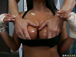 Busty ex boxing champion Jenaveve Jolie is going to get back into the ring. The only problem she has top solve for it is her cock addiction. Watch uniformed Jenaveve Jolie get her wet big boobs rubed and give blowjob to her lucky assistant.