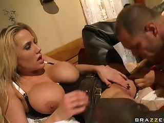 Big breasted blonde cowgirl Alanah Rae gets her jugs out and opens her legs for handsome tattooed guy after sucking his good size rod. She gets her wet snatch finger fucked and eaten by horny guy.