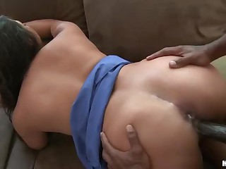 Hot dark haired latina Adriana Luna is curious about big chocolate cock. She takes one in her mouth before enjoying it in her pussy. Her well hung black sex partner fucks her taco like crazy.