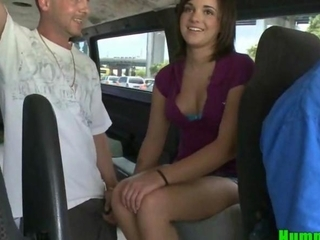 Amateur Cute Brunette Teen Fucked on Hump Bus