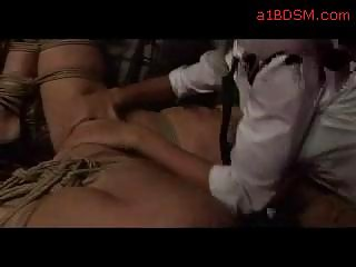 Blonde Girl Tied To Cage Fingered Tits Rubbed By Bold Girl In The Workshop