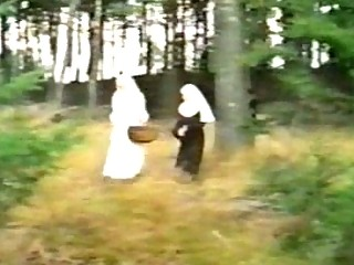 Dirty nuns sharing dick outdoor