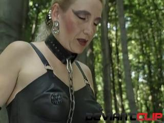 Outdoor slave fucked hardcore until she pees
