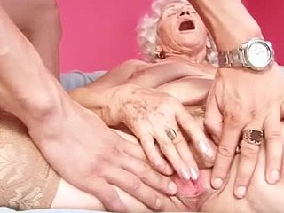 Breasty grandma sucks dong and gets fucked by a youthful chap