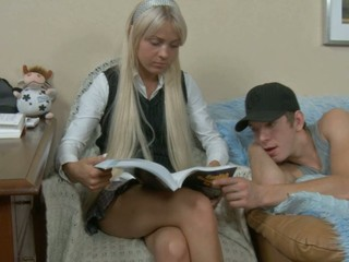 Blond with long hair sits her slit on a stiffy
