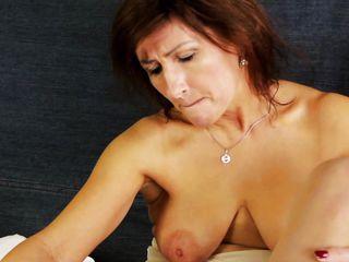 mature mom emelia playing alone