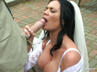 naughty bride enjoying a huge cock