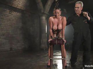 busty milf tied up in water bondage movie
