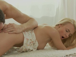 Blond in lace stuffed full of cock