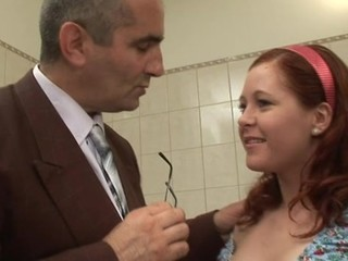 This tasty damsel allow old dude touching her erect nipples