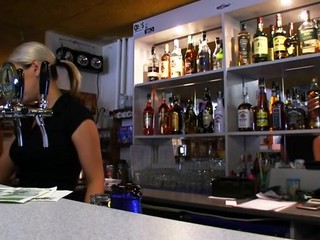 Lonely bartender got money for beer with penetrating her miniature vagina