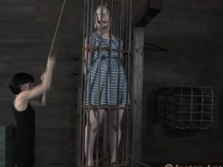 Caged up beauty is coercive to give stud wild weenie engulfing