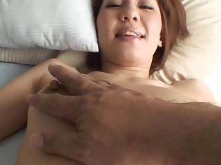 Pretty Oriental old woman i'd like to fuck sucks on hard schlong and her fringy cunt fingered