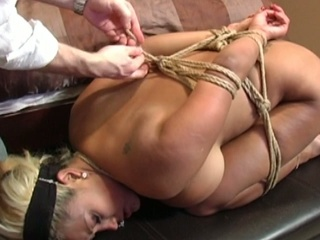 Hot blonde acquires bounded and abused on her ass and pussy