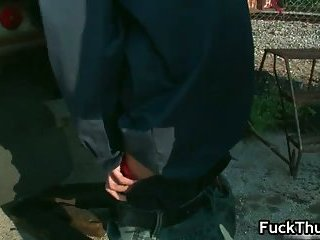 Thug acquires fucked up the butthole outdoors