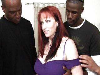Hot redhead MILF gangbanged