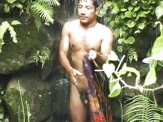 Solo male masturbation outdoor