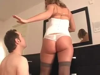 Cuckold rims his dominatrix whilst she puts makeup on