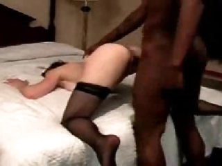 White wife in nylons goes black