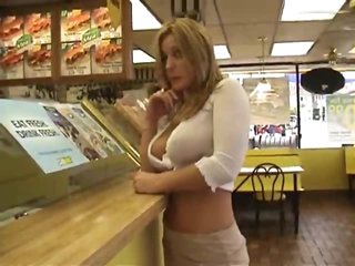 Chick flashing at restaurant and gas station